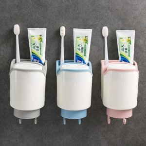 CYAN PEAK Bathroom Accessories Set Toothbrush Holder with Cups Wall Mount Storage Rack Toothpaste Organizer Mouthwash Cup Holder