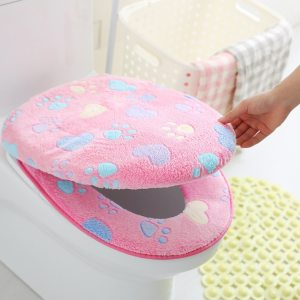 Thick Coral Velvet Toilet Seat Cover Toilet Lid Cover Cushion Seat Case Bathroom Soft Warm Zipper Toilet Seat Cover Accessories