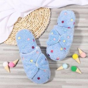 Women Warm Winter Slippers Ladies Cute Bow Home Plush Wear Slipper Woman Flats Plus Size Comfort Platform Woman Flat Shoes