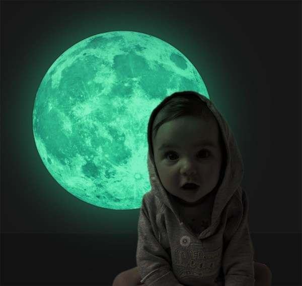 Funlife Glow In The Dark Wall Or Ceiling 30CM Moon Stickers For Simulated Moon Effect At Night Creative Gifts For Kids Bedrooms