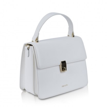 elody top handle bag white