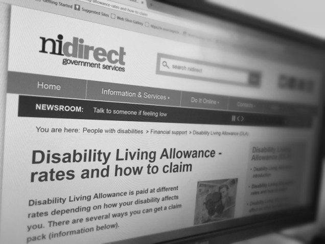 Computer screen showing a website with details of how to claim Disability Living Allowance