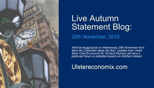 Graphic promoting a Live Blog about the Autumn Statement