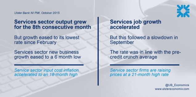 Graphic showing that the NI services sector grew output for the 8th consecutive month