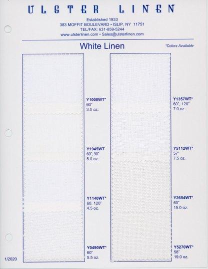 White Linen Swatch Card Range