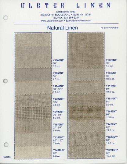 Swatch Card Range of Natural Linen Fabric