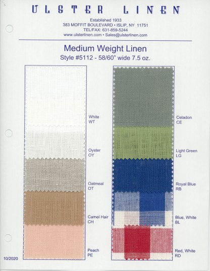 Y5112 Linen Fabric Swatch Card