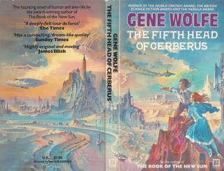 Cover the UK Paperback of Gene Wolfe's The Fifth Head of Cereberus, art (c) by Bruce Pennington