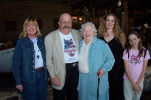 Photo of Judi Rohrig, Gene and Rosemary Wolfe, writer C.S.E. Cooney, and Bekah Rohrig (Li'l Pirate).