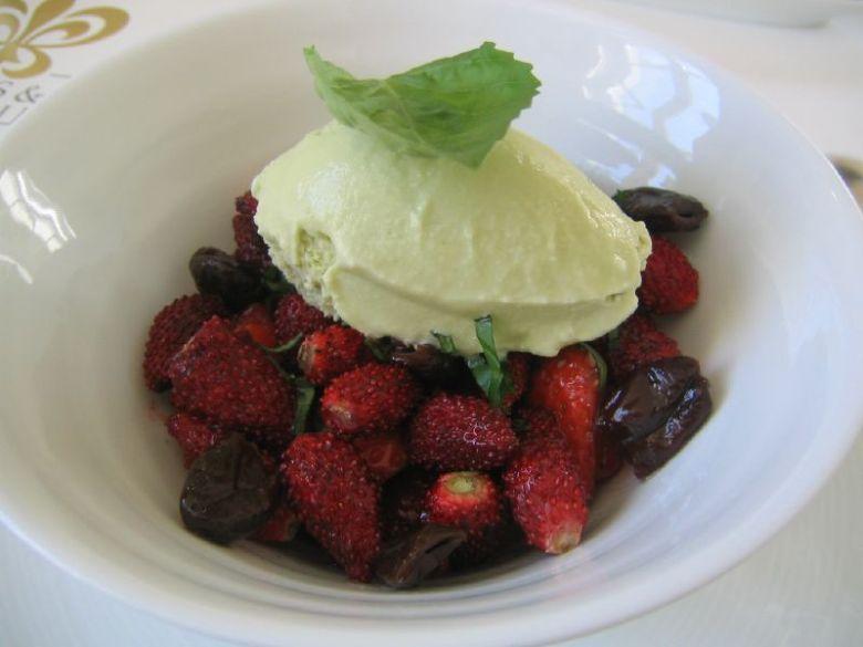 Wild wood strawberries, Nicoise olives, basil chiffonade, & basil ice cream.