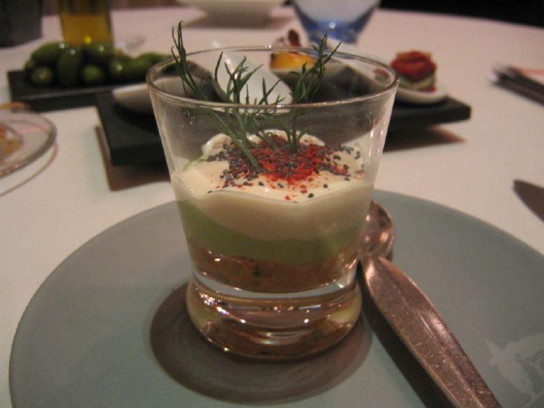 Crab with sea urchin cream, lettuce cream and fresh dill.