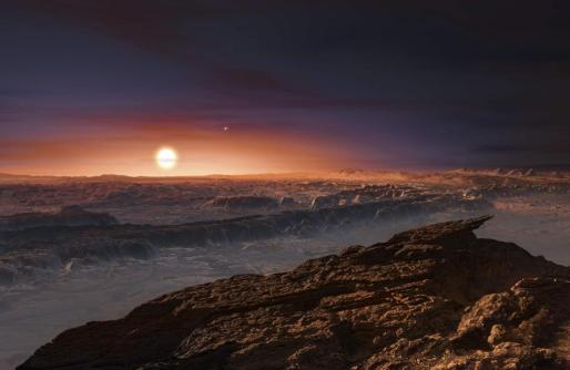 A view of the surface of the planet Proxima b orbiting the red dwarf star Proxima Centauri, the closest star to our Solar System