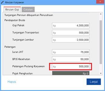 Mengisikan Nilai Piutang yang dibayarkan pada kolom Potongan Piutang Karyawan