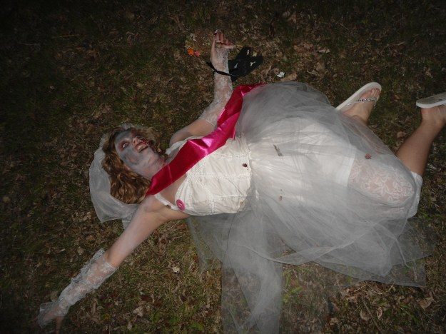 A zombie bride at her bachelorette party
