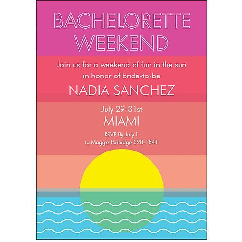 beach bachelorette invitation : perfect invite for miami beach bachelorette, palm beach bachelorette, bahamas bachelorette, key west bachelorette