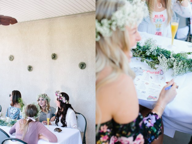 A Flower Crowns & Champagne Backyard Bridal Shower | Ultimate Bridesmaid | Dulcet Creative | What's in your purse game