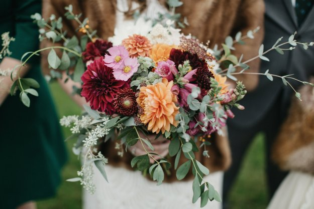Fall wedding bouquet with dahlias and eucalyptus by Broadturn Farm | Our Northeast Charm Wedding in Maine | Ultimate Bridesmaid | Brett & Jessica Photography