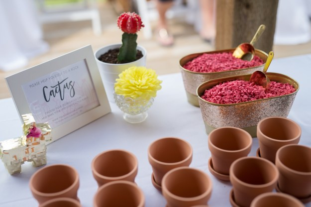 Rock cactus bridal shower favor. A Pink and Gold Fiesta Bridal Shower | Ultimate Bridesmaid | Christy D Swanberg Photography