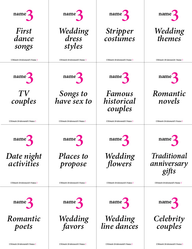 picture regarding Printable Bachelorette Games identify Printable Bachelorette Recreation: Reputation 3 Best Bridesmaid