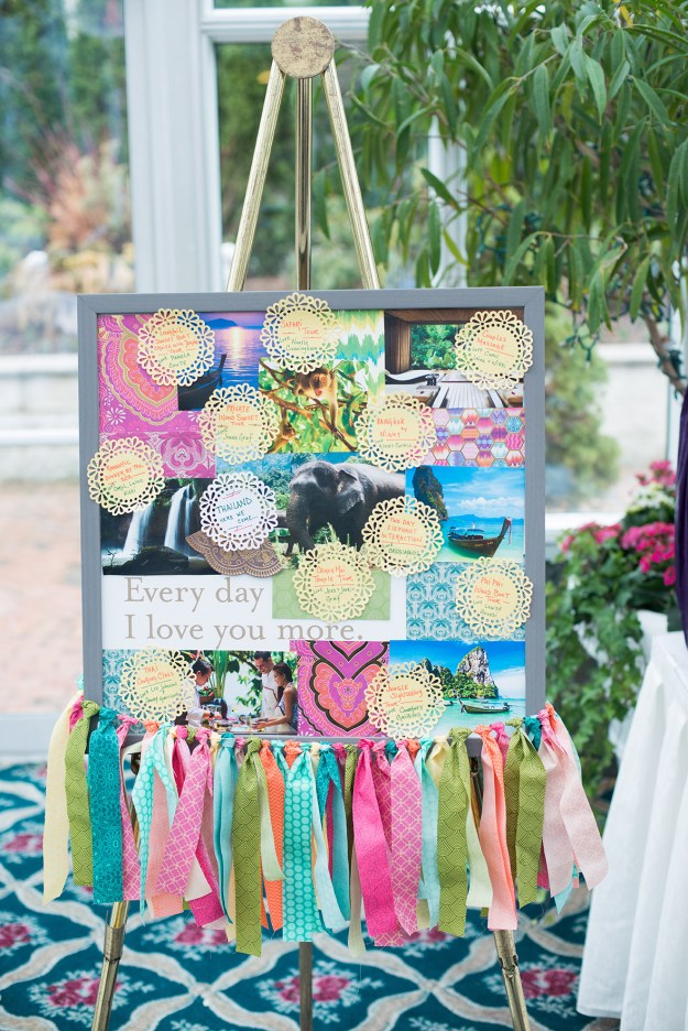 Honeymoon Gift Board for a bridal shower. A Sparkling Greenhouse Bridal Shower | Ultimate Bridesmaid | Delaney Dobson Photography