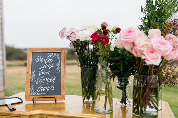 Flower crown crafting at a bridal shower. A Rustic Barn Bridal Shower in Oklahoma | Ultimate Bridesmaid | Alex Dugan Photography