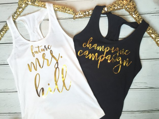 Champagne campaign bachelorette party tanks