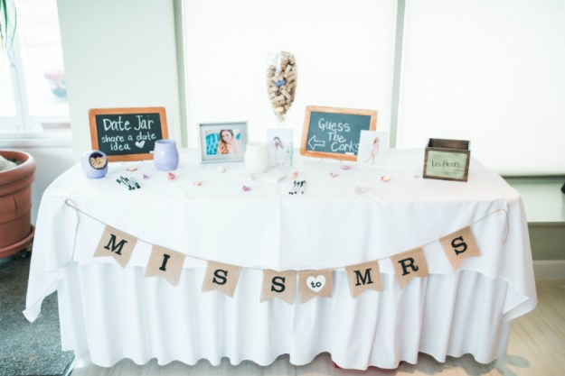 Miss to Mrs bridal shower game table. A Sweet Garden Bridal Shower | Ultimate Bridesmaid | Kathryn Hyslop Photography
