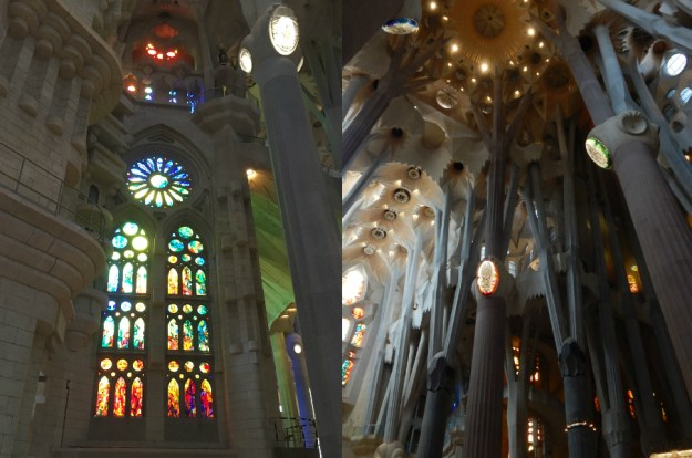 The interior of La Sagrada Familia in Barcelona. We started our 10-day honeymoon in Spain with three days in Barcelona. Click for our full itinerary and recommendations!