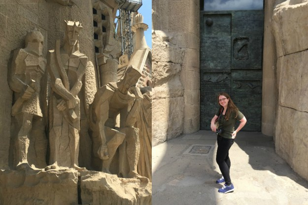 The Passion facade of La Sagrada Familia in Barcelona. We started our 10-day honeymoon in Spain with three days in Barcelona. Click for our full itinerary and recommendations!