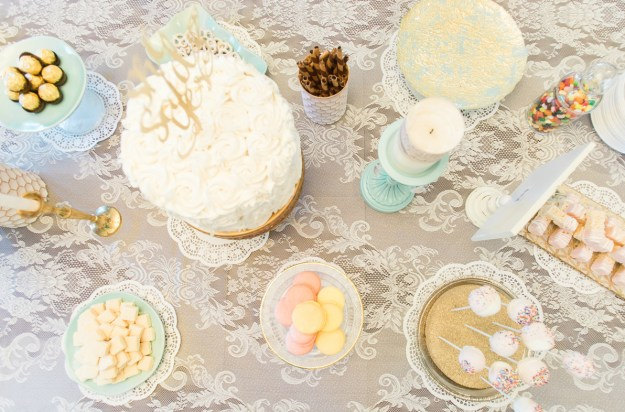 Bridal shower dessert bar. A Gold and Blush Bridal Shower | Ultimate Bridesmaid | Anne Molnar Photography