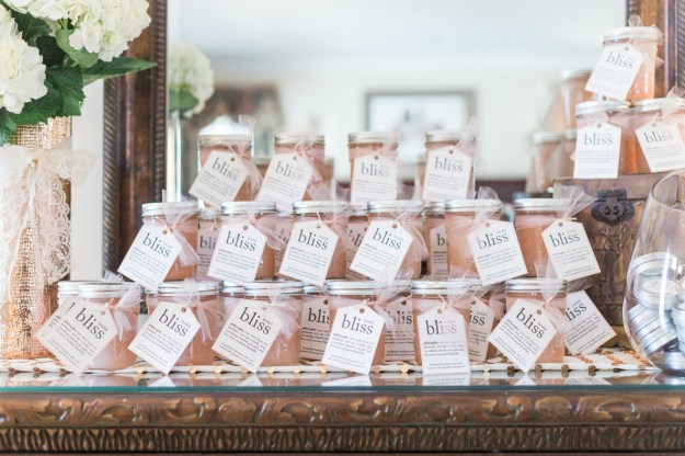 Grapefruit Himalayan sea salt scrub as a bridal shower favor. A Gold and Blush Bridal Shower | Ultimate Bridesmaid | Anne Molnar Photography
