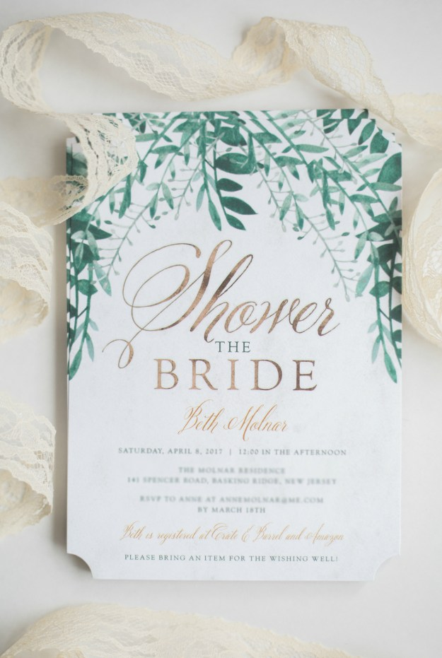 Gold bridal shower invitations with greenery. A Gold and Blush Bridal Shower | Ultimate Bridesmaid | Anne Molnar Photography
