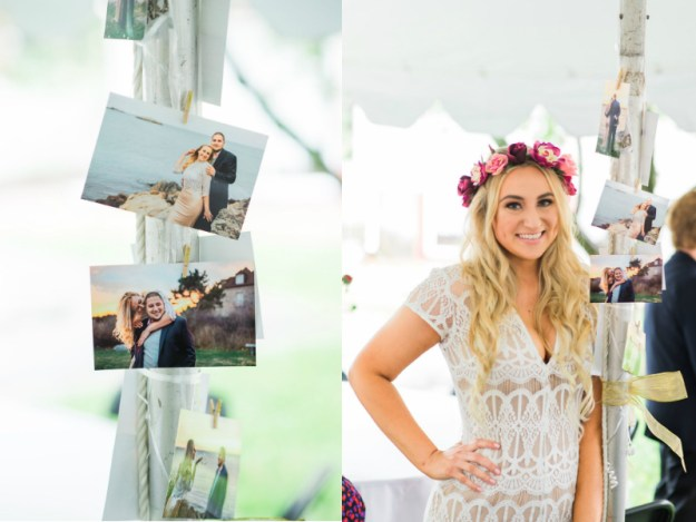 Decorate the bridal shower with pictures of the couple from their engagement. Such a cute idea! A Roses and Mimosas Bridal Shower Brunch | Ultimate Bridesmaid | Alisha Maria Photography