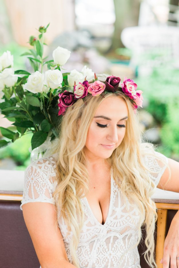 Stunning lace bridal shower dress. A Roses and Mimosas Bridal Shower Brunch | Ultimate Bridesmaid | Alisha Maria Photography