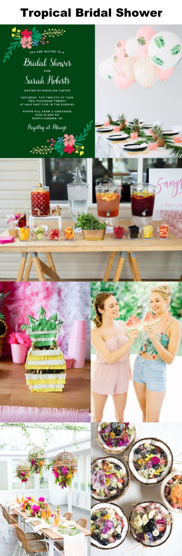 Plan a tropical bridal shower with these ideas: Start with a completely custom bridal shower invitation from Basic Invite, add a sangria bar and decorate with plenty of fresh summer fruits and flowers