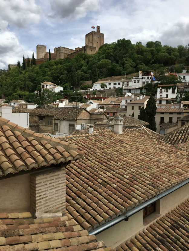 A view of the Alhambra from our hotel room at Casa 1800. We spent two days in Granada as part of our 10-day honeymoon in Spain. Click to see our full Granada travel guide.