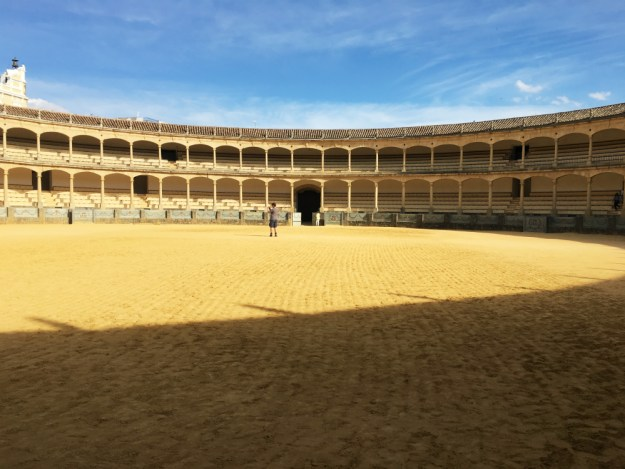 Plaza de Toros or bull ring, Ronda, Spain. We visited Ronda for two days as part of our 10-day honeymoon in Spain. Click to see our Ronda travel guide, including where to stay, what to do and where to eat!