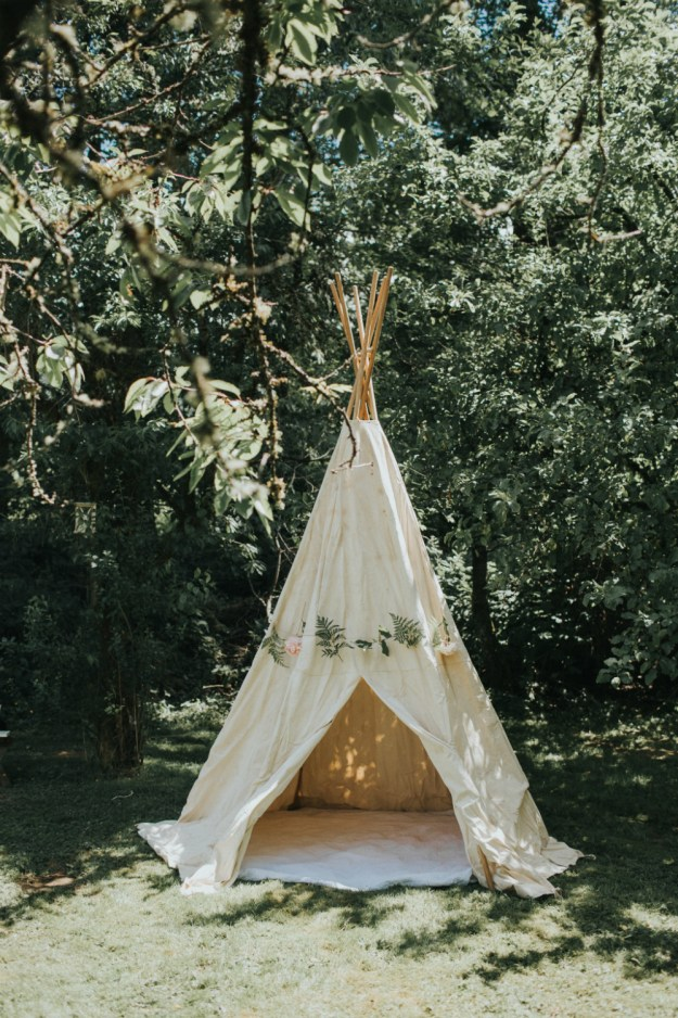 Add bohemian flair to your bridal shower by setting up a teepee retreat. A Bohemian Bridal Shower in the Garden | Ultimate Bridesmaid | Alyssa Wilcox Photography