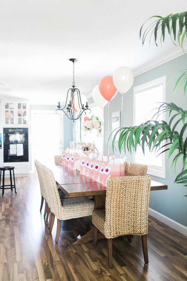 Coastal chic bachelorette party house with peach and aqua color scheme. A Donut Wall Bachelorette by the Sea | Ultimate Bridesmaid | Sidney Leigh Photography