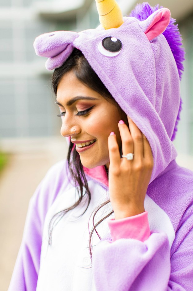 This bride chose to relax with her friends at a Netflix and Chill bridal shower and showed up in this fun purple unicorn onesie! A Netflix and Chill Bridal Shower | Ultimate Bridesmaid | Photography by Azra