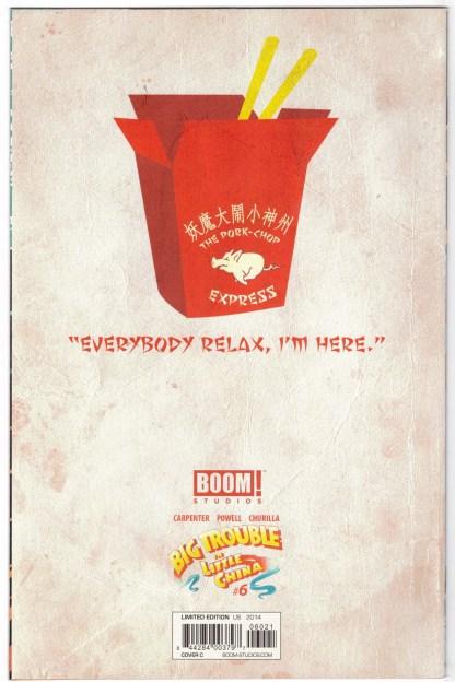 Big Trouble in Little China #6 1:25 Dan McDaid Virgin Variant Boom 2014 VF/NM