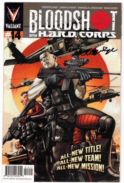 Bloodshot and HARD Corps #14 Signed by Cristos Gage Valiant 2014 VF/NM