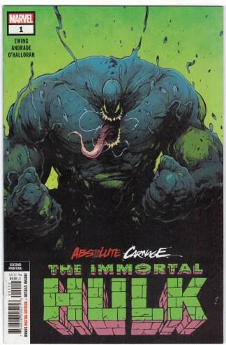 Absolute Carnage Immortal Hulk #1 2nd Print Variant 2019 Venom VF/NM