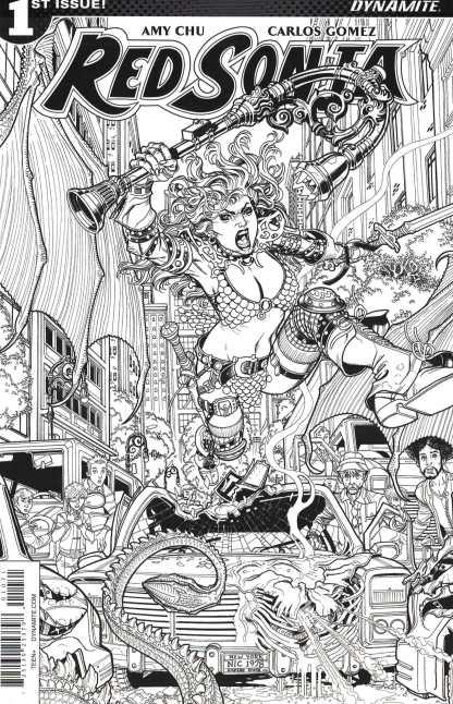 Red Sonja #1 1:10 Nick Bradshaw Black & White Sketch Variant Cover G 2017 Vol 4