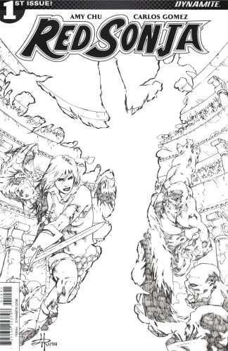 Red Sonja #1 1:30 Mel Rubi Black & White Sketch Variant Cover I 2017 Vol 4