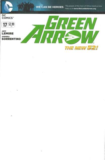 Green Arrow #17 Blank Variant We Can Be Heroes Jeff Lemire DC 2011 New 52