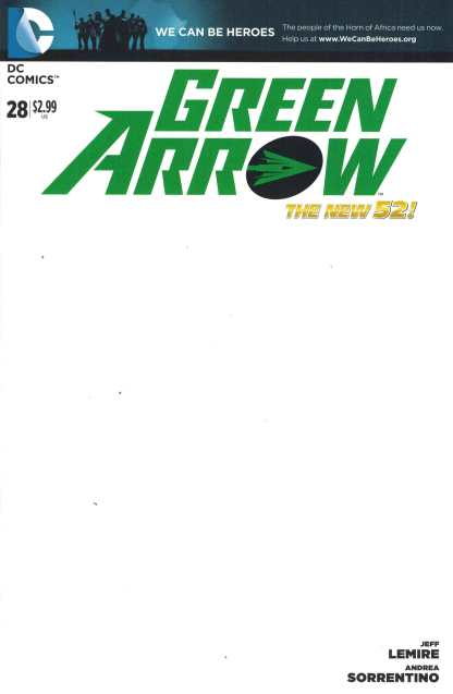 Green Arrow #28 Blank Sketch Variant We Can Be Heroes DC 2011 New 52