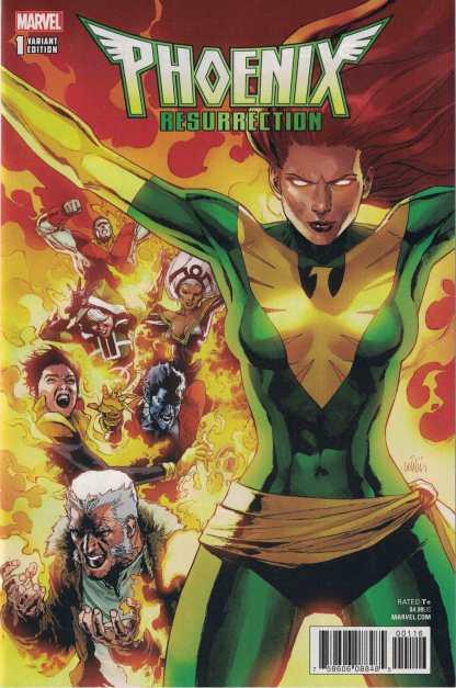 Phoenix Resurrection Return Jean Grey #1 Frances Leinil Yu Green Variant Marvel