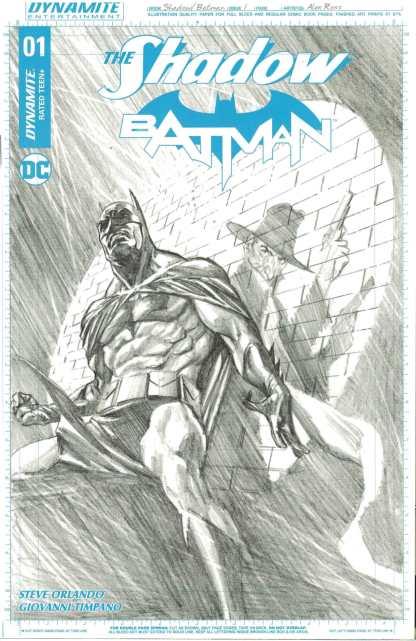 Shadow Batman #1 1:50 Alex Ross B&W Art Board Variant Dynamite 2017