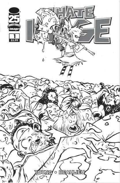I Hate Image #1 Walking Dead #100 Homage B&W Variant Skottie Young Image 2017